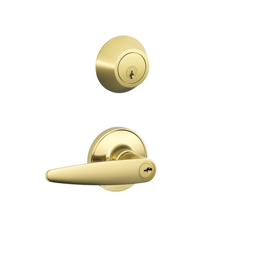 Brass Door Sweep - Schlage JC60V DOV 605 Security Set Single Cylinder Deadbolt and J54 Keyed Entry Dover Lever, Bright Brass Finish
