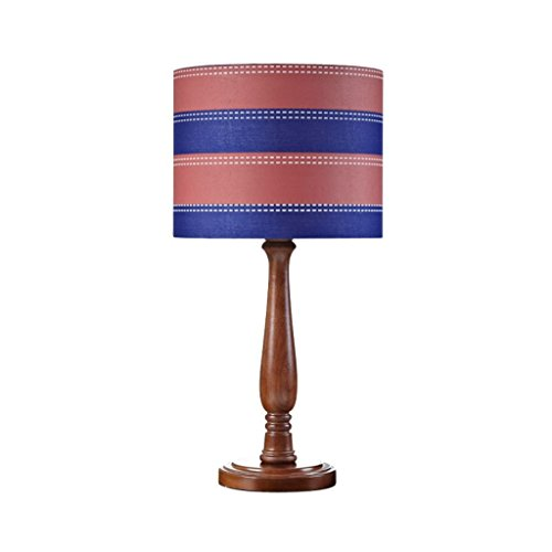 Table lamp Creative Personality European Striped Green Solid Wood Children's Room Reading Lamp Bedroom Small
