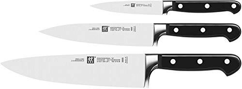 Zwilling 35602-000-0 Professional S Messerset, 3-teilig, Rostfreier Spezialstahl, Sonderschmelze, Friodur eisgehärtet, silber-schwarz