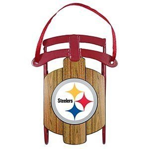 NFL Pittsburgh Steelers Football Metal Sled Christmas Ornament