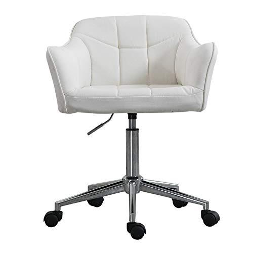 Cheap Swivel Office Desk Chair Ergonomic Modern Accent Farbic Home Task Chair with Armrest, Cream