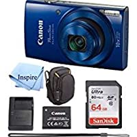 Canon PowerShot ELPH 190 Digital Camera COMPLETE BUNDLE w/10x Optical Zoom and Image Stabilization Wi-Fi & NFC Enabled + ELPH 190 Case + SD Card + USB Cable +64 GB MEMORY by INSPIRE DIGITAL