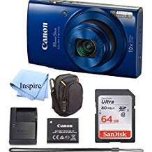 Canon PowerShot ELPH 190 Digital Camera COMPLETE BUNDLE w/10x Optical Zoom and Image Stabilization Wi-Fi & NFC Enabled + ELPH 190 Case + SD Card + USB Cable +64 GB MEMORY from INSPIRE DIGITAL