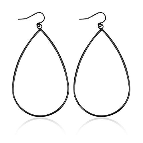 Lightweight Geometric Cut-Out Drop Earrings - Simple Metallic Open Hoop Wire Hook Dangles Teardrop, Oval, Kite, Petal (Wire Teardrop - Hematite)