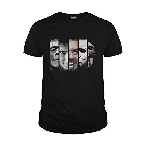 Men's Frankenstein, Norman Bates, Jack Torrance, Michael Myers, Saw Horror Halloween T-Shirt (2XL, Black) ()