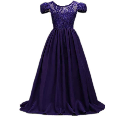 Super frist Chiffon Long Skirt Girls Flower Princess Dresses Cap Sleeve Party Wedding Dress(Dark purple/120cm(6-7 Years)) -