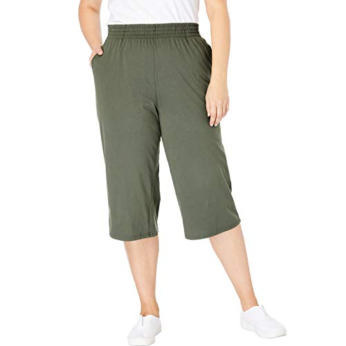 (Woman Within Women's Plus Size Jersey Knit Capri Pant - Vintage Moss, 5X)