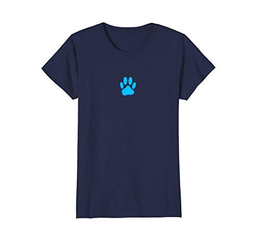 Womens Blue Dog Paw Print T-Shirt XL Navy Dog Blue Paw Prints