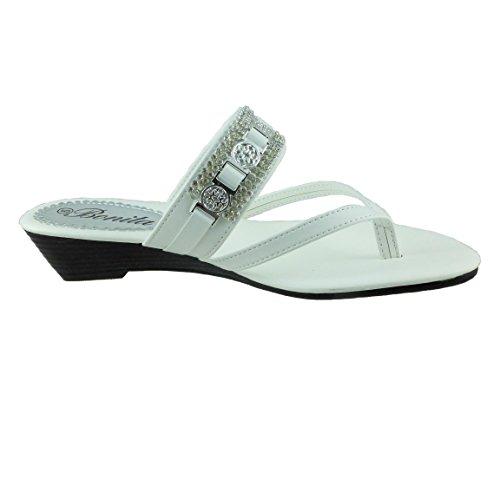 Bonita Sandales Compensées Femmes Flip Flops Chaussures Bébé-104 Blanc