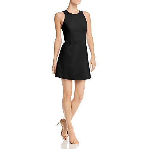 French Connection Women's Whisper Light Sleeveless Strappy Stretch Mini Dress, Black Cross Back, ()