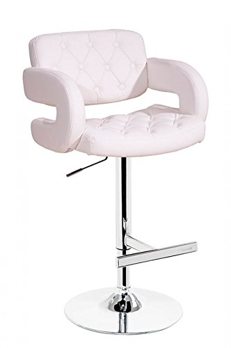 Limari Home Heidrun Collection Contemporary Button Tufted Height Adjustable Upholstered Leatherette Bar Stool with a Swivel Top, Back, Armrests, Footrest and Chrome Base, White