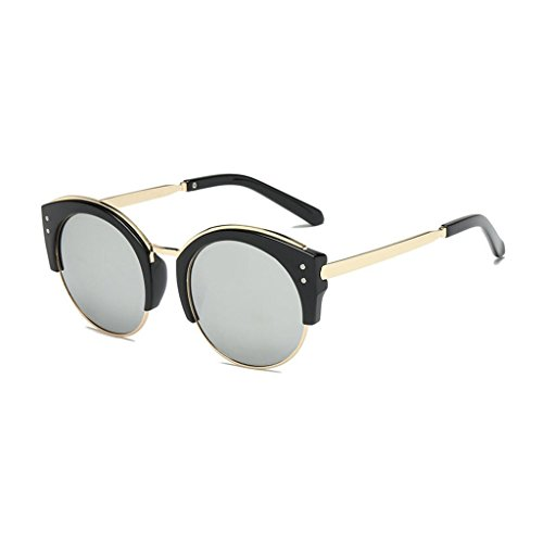rondes UV400 classique mode de demi de soleil femmes dames pour semi soleil de lunettes Gray sans protection monture hommes GAOLIXIA monture Lunettes OxPanqEwZW