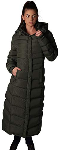 (ELORA Women's Maxi Fleece Trim Hooded Full Length Puffer Coat, Olive, Large)
