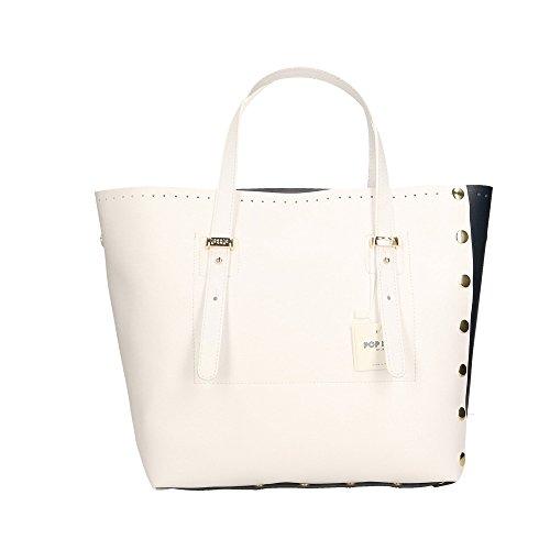cuir Bags Impression Cm POP Blanc véritable Blanc main 28x27x13 Saffiano Made Sac femme in à Bleu Italy en wgYdxRYPq