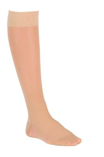 Dr. Comfort Women's So-Sheer Knee-High Compression Stocking w/ Full Calf, 15-20 mmHg, Natural, Large by Dr. Comfort