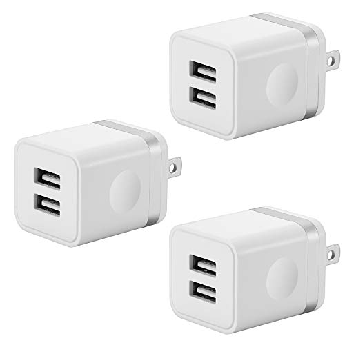 LEEKOTECH USB Wall Charger, 3-Pack 2.1A/ 5V Dual Port USB Plug Power Adapter Wall Charger Charging Block Cube Compatible with Phone XR Xs Max X 8 7 6 6S Plus 5 4, Samsung, LG, Moto, Android Phone More