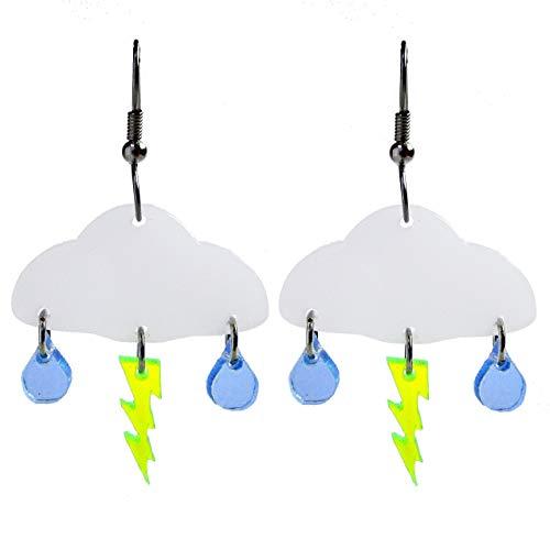Rain Cloud Lightning Bolt Dangle Earrings, Weather Thunder Meteorologist Jewelry, Stainless Steel]()