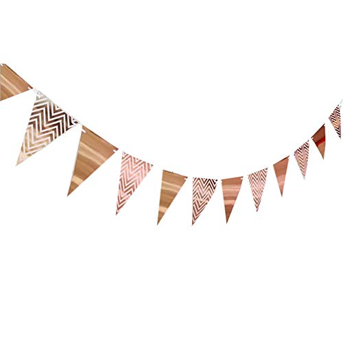 Florashop 160 Feet Glitter Paper Pennant Banner Triangle Flags Wedding Birthday Christmas Baby Shower Party Hanging Wall Decorations Sparkle Paper Garland Hanging Wall Decor Photo Prop (Rose Gold)