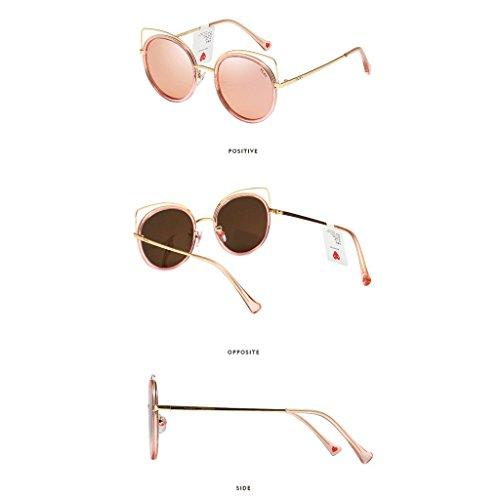 de de Gafas gran Gafas de haz espejo de tamaño ojo gato doble polarizadas de marco sol de de clásico de sol metal lujo Color mujeres Negro Rosado gato de para de de mujer ojo para gafas de Wayfarer rwXSwCxnq