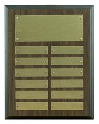 7 x 9 Perpetual Plaque Engraved with 12 Name Plates (Perpetual Award)