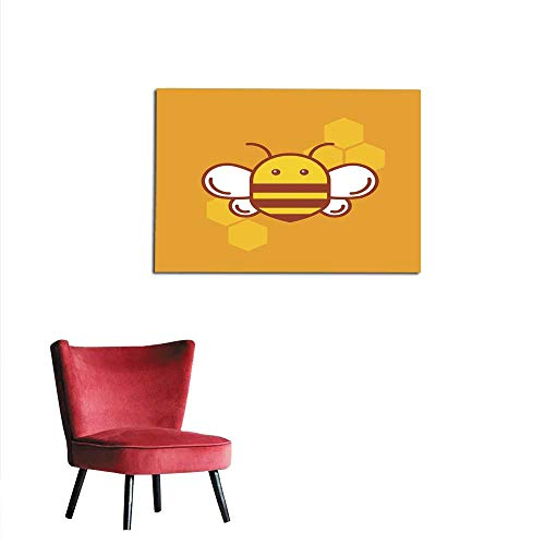 homehot Photographic Wallpaper Bee Thin Lined icon Bumblebee Logotype Design Mural 32
