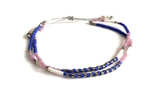 Handmade Minimalist Glass Seed Beaded Adjustable Friendship Double Bracelet
