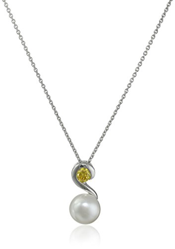 Sterling Silver 8-9mm White Button Freshwater Cultured Pearl and November Golden Cubic Zirconia Swirl Drop Pendant Necklace, 18