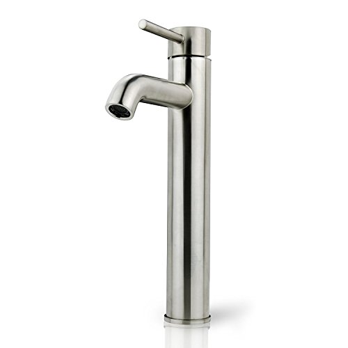 (iSpring L8114BN Bathroom Lavatory Vanity Vessel Sink Tall Single Handle Faucet Brushed Nickel Euro Modern Contemporary Style)
