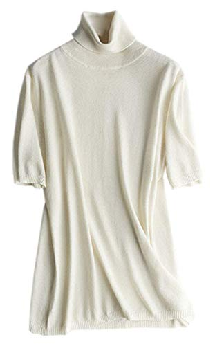 Women's Turtleneck Short Sleeve Sweater T Shirts Top, White, S