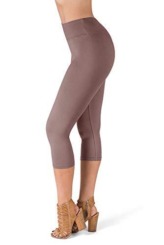 SATINA High Waisted Super Soft Capri Leggings - 20 Colors - Reg & Plus Size (One Size, Mauve)