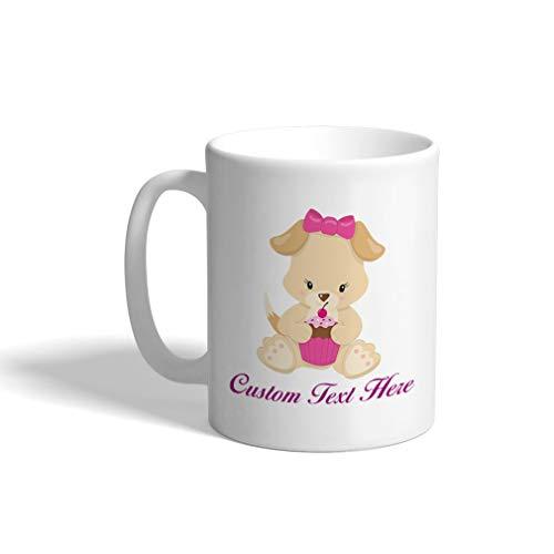 (Custom Funny Coffee Mug Coffee Cup Light Orange Puppy Eats Cupcake Girl White Ceramic Tea Cup 11 OZ Personalized Text Here)