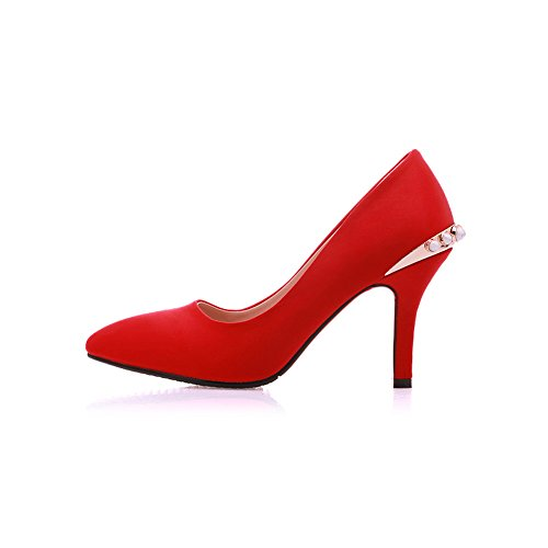 Balamasa Ladies Metal Ornament Bead Style Europeo Soft Shoes Pumps-shoes Rosso