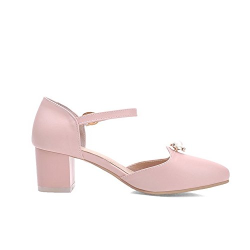 Pink AmoonyFashion Sandals Kitten Buckle Solid Womens Soft Heels Toe Material Pointed vvxB1qr