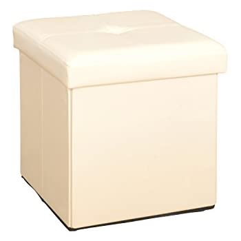 Amazon Com Simplify F 0625 Ivory Folding Storage Ottoman
