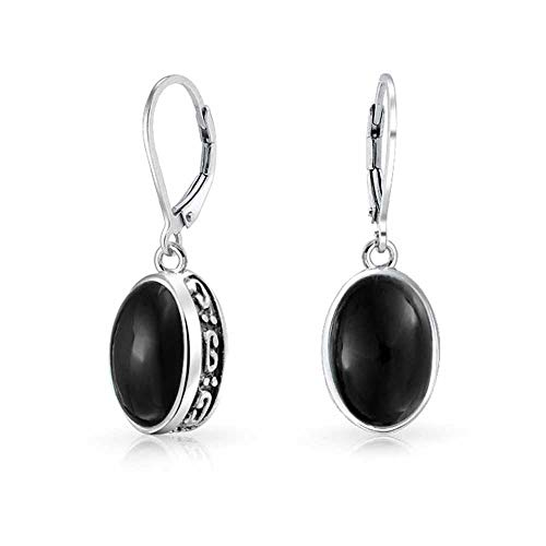 Simple Bali Style 3.2CT Dyed Black Onyx Dome Oval Bezel Set Leverback Dangle Earrings For Women 925 Sterling Silver