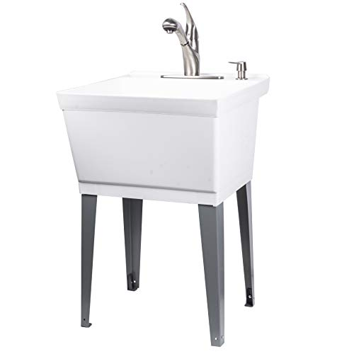 Utility Sink Laundry Tub with Pull Out Spout and Soap Dispenser by Vetta, Stainless Steel Faucet, Heavy Duty Free Standing Slop Sinks for Basement, Workshop, Garage