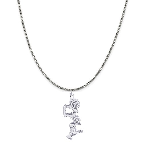 Rembrandt Charms 14K White Gold Horse and Carriage Charm on a Curb Chain Necklace, 16