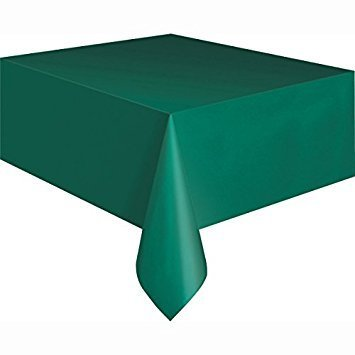PACK OF 12 Disposable Plastic Tablecloths, 54 x 108 (GREEN) by Party! -