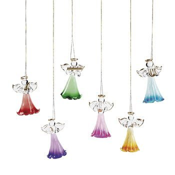 Christmas Angel Glass - 12 Shimmering Colored Glass Angel Christmas Tree Ornaments~Gifts