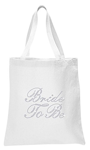 White Bride to Be Luxury Crystal Bride Tote Bag Wedding Party Gift Bag Cotton