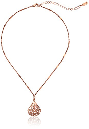 1928 Jewelry Rose Gold-Tone Filigree Pear Shape Adjustable Pendant Necklace, 16