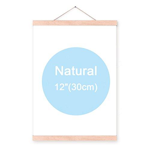 lieomo Magnetic Oak Wood Poster Frame Hanger - Artwork Print Holder Canvas Quilt Wooden Hanging(Natural - Oak Hangers Quilt