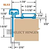 Select Hinges SL53 83'' Continuous Hinges Half Surface Hinge-Narrow frame leaf-Heavy Duty [HD]-Clear Finish
