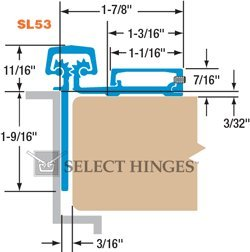Select Hinges SL53 83'' Continuous Hinges Half Surface Hinge-Narrow frame leaf-Heavy Duty [HD]-Clear Finish by Select Hinges