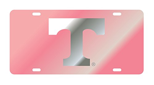 UT Tennessee Vols Laser MIrrored Pink License Plate Tag