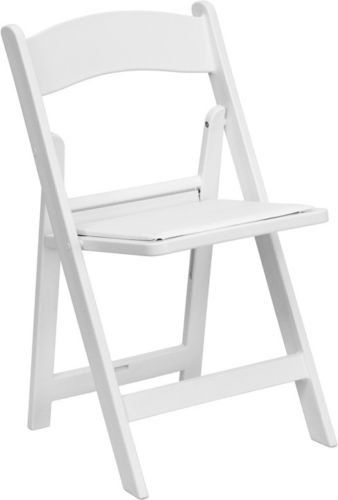 (4 PACK) White Resin Folding Chair with White Vinyl Padde...
