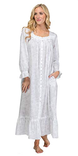 (Eileen West Button-Front Gown/Robe - Cotton Lawn in Rose Whisper (White/Gray/Pink Roses, X-Large))