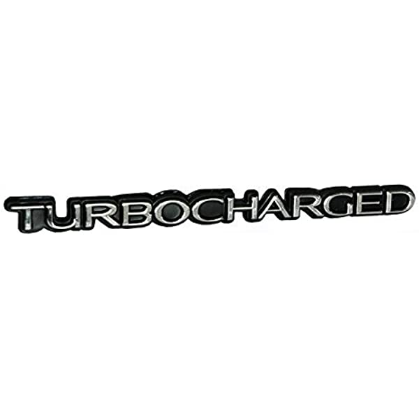 Turbo Turbocharged Engine Embossed Emblem Logo Badge in Chrome over Black Trim