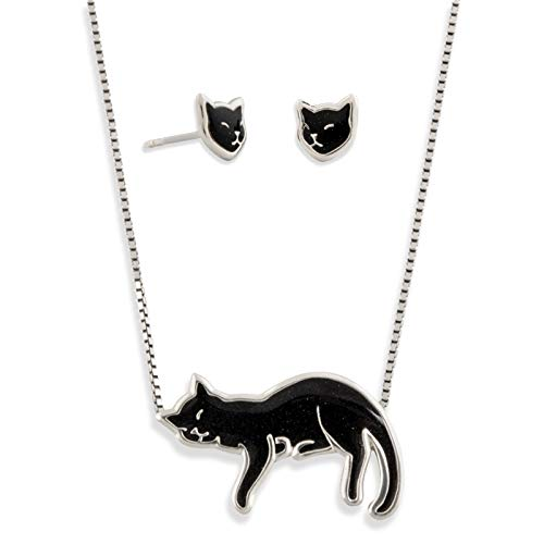 (925 Sterling Silver Cat Necklace and Stud Earrings Polymer Clay Kitten Jewelry Set, 16.5