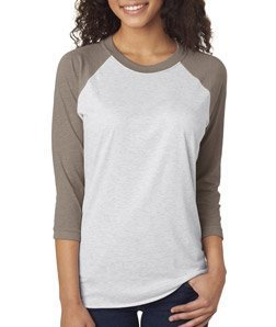 Next Level Apparel 6051 Unisex Tri-Blend 3 By 4 Sleeve Raglan - Venetian Gray & Heather White, 2XL